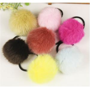 """Резинка для волос """"Меховой шарик"""" 6 шт (цвет в ассортименте парами)"""